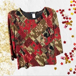 Brittany Black Red, Gold, & Black Print Blouse